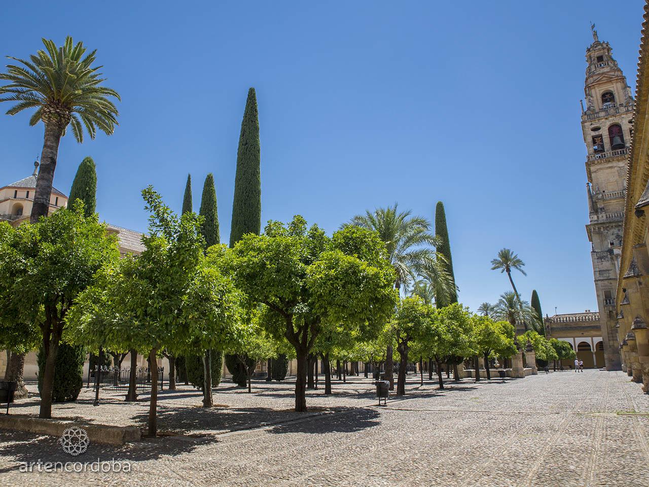 El Patio de los Naranjos de la Mezquita-Catedral de Córdoba visto desde el costado nororiental