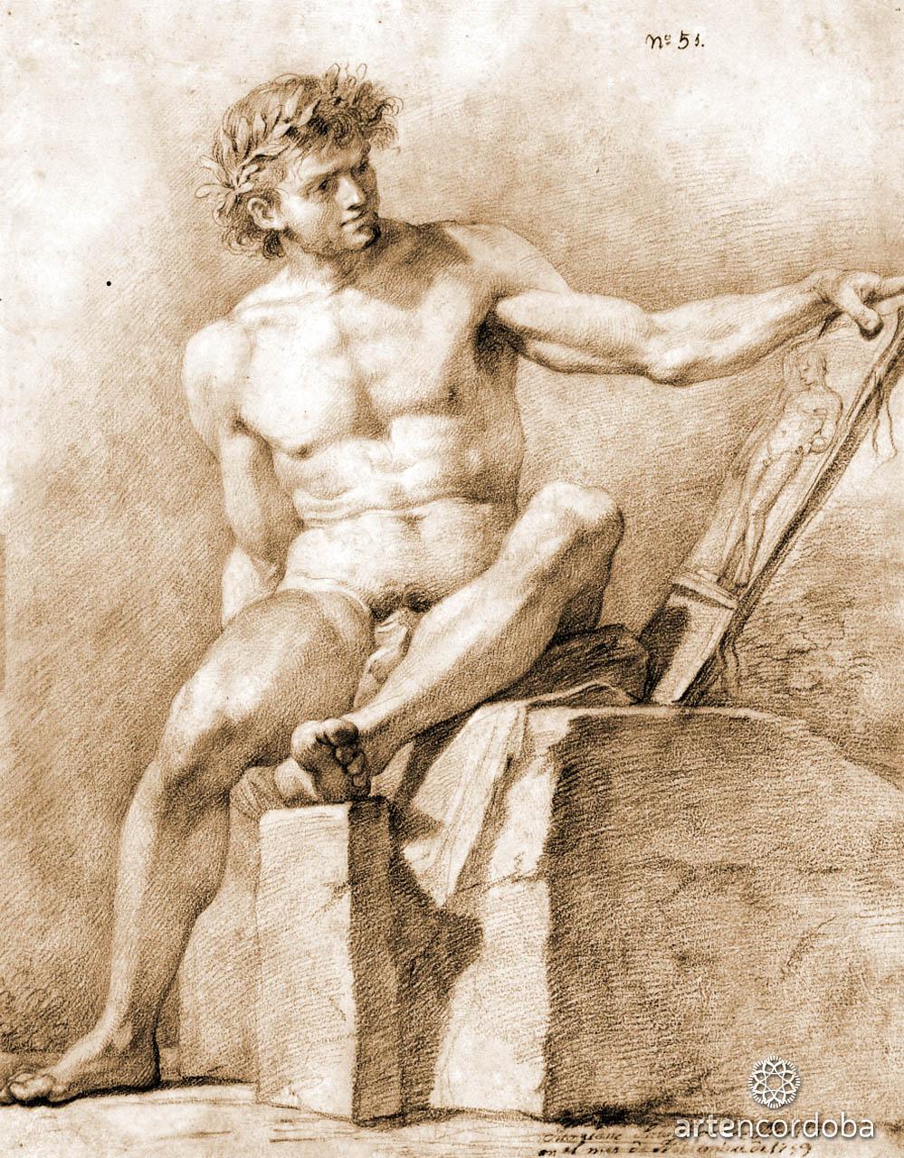 Academia Masculina (Alegoría de la Escultura), lápiz sanguina, de Mariano Salvador Maella
